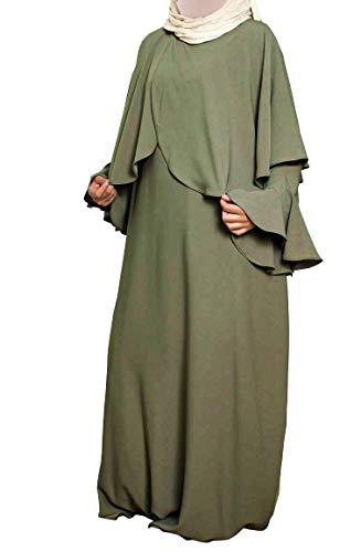 Confectionsoumk Abaya Still-Kleid Zouina breit und schick mit praktischen seitlichen Öffnungen mit unsichtbaren Reißverschlüssen, Kimono, Grün One size