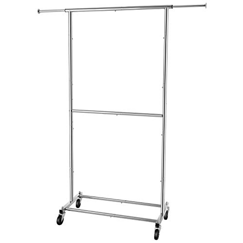 Simple Trending Double Rod Clothing Garment Rack Rolling Clothes Organizer on Wheels for Hanging Clothes Chrome