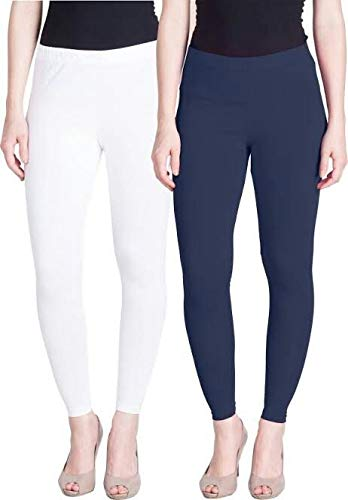 Lux Lyra Women's Slim Stretchable Ankle Length Cotton Leggings (White and Navy Blue, Free Size) - Pack of 2