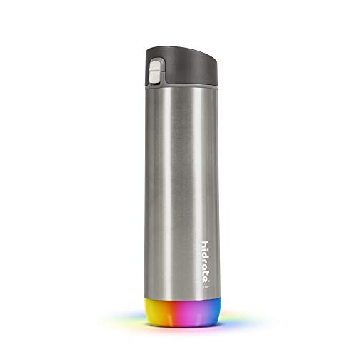 HidrateSpark STEEL Smart Water Bottle - Tracks Water Intake & Glows to Remind You to...