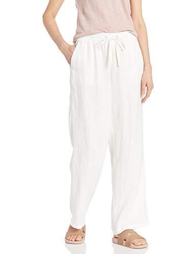 Amazon Essentials Women's Drawstring Linen Wide Leg Pant, White, XS Regular