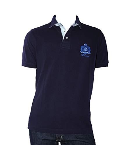 OTTO KERN Poloshirt in Blau aus Baumwolle mit Emblem, Größe: S