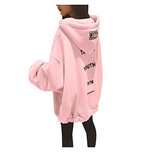 YWLINK Oversize Pullover Damen GroßE GrößEn Hoodies FüR Teenager MäDchen Einfarbig Warm Winter Damen Kapuzenpullover Lose Bequem Oberteile(Rosa,XXXL)