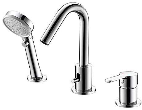 Bathtub Filler Faucet, 3-Hole Deck-Mount Bathtub Faucet Mixer Faucet with Pull Out Hand Shower (with Diverter)