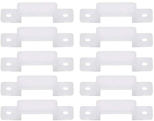 OMALOO 100 clips de fijación de silicona para tira de luces LED con 200 tornillos para tira de 14 mm de ancho máximo