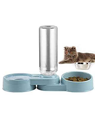 Folomie Double Dog Cat Bowls Pet Automatic Water Dispenser Detachable Dog Plastic Feeder Bowl Pet Food Water Feeder Bowls for Cats and Small Dog Rabbit