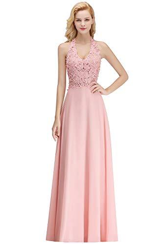 MisShow Damen Glitzer Abendkleider mit Perlen Abschlusskleider Ballkleider Partykleider Rosa 34