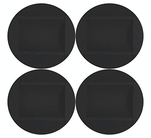 4 Discos de goma para frenar ruedas antideslizante silicona seguridad hogar sillas oficina camas cunas mesas carros suelos resbalón (Negro)