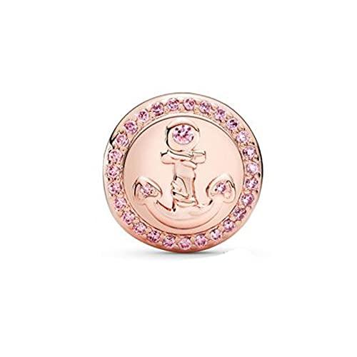 Awdijf 925 Colgante De Plata Esterlina Rosa Brillante Ancla Encantos Clip Pulseras Collar Que Hace Moda Diy Joyería Mujeres Regalo Exquisito