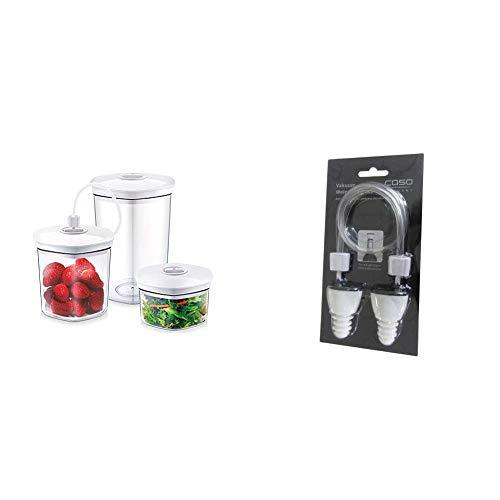 CASO Behälter-Set für Vakuumierer, 3 Vakuumbehälter & Weinstopfen 2er Set, passend für alle CASO Vakuumierer, versiegen Sie angebrochenen Wein luftdicht - das Aroma und der Geschmack bleiben erhalten