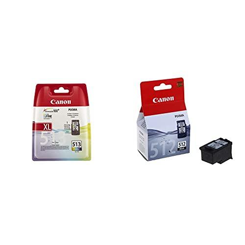 Canon CL-513 Cartucho de Tinta Original Tricolor para Impresora de Inyeccion de Tinta Pixma + PG-512 Cartucho de Tinta Original Negro (15 ml) para Impresora de Inyeccion de Tinta Pixma