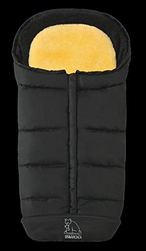 Eisbärchen 7975 Komfort 2-in-1-Fußsack mit herausnehmbarer Lammfell-Einlage (schwarz)