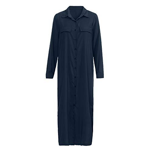Damen Beiläufig Lose Solide Lange Ärmel V-Ausschnitt Taste Teilt Saum Lange Kleid Mode Abend Kleid