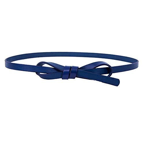 GHYSTORM Mode Dame Mode Kopf Ledergürtel dünne Taille Kettenrock geknotet dünnen Gürtel 66-85cm blau