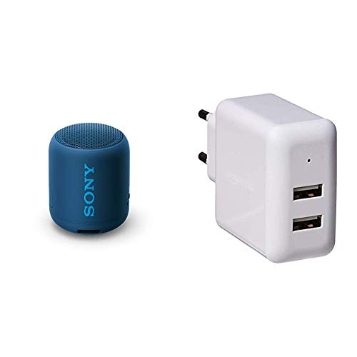 Sony SRS-XB12 Bluetooth Lautsprecher (tragbar, kabellos, Extra Bass, wasserabweisend) blau & Amazon Basics - USB-Ladeadapter (2,4 Ampere) mit 2 Anschlüssen - Weiß