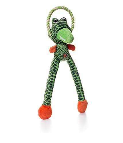 Charming Pet Thunda Tugga Leggy Gator Plush & Squeaky Dog Tug Toy