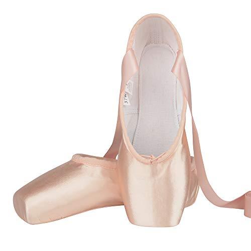 Zapatos de Punta Satén Zapatillas de Ballet con Puntera de Gel de Silicona y Cintas para Mujeres y Niñas 34