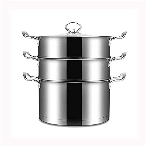 DYB Juego de Utensilios de Cocina, vaporera de Acero Inoxidable Premium para el hogar de 3 Niveles con Tapa, Utensilios de Cocina
