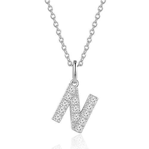 AGVANA Kette mit Buchstabe Silber 925 Cubic Zirkonia Namenskette Silber Initialen Kette Alphabet A bis Z Anhänger für Damen Frauen mit Geschenkbox,Buchstabe N
