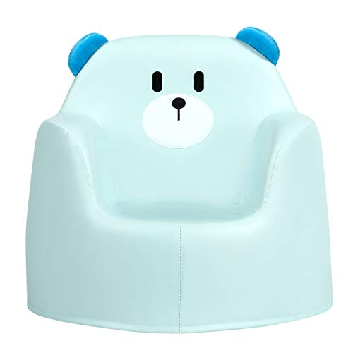 COSTWAY Kids Armchair, Rabbit/Bear Cartoon Sofa with Integrated Foam and PU Surface, Children Chair Seat Toddler Furniture Toy for Baby Boys & Girls Gift (Blue Bear)