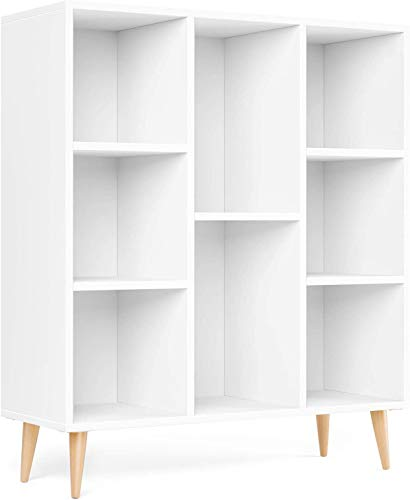 Homfa Librería Estantería Blanca Mueble Auxiliar Madera para Salón Dormitorio Oficina Nórdico con 8 Cubos para Libros...