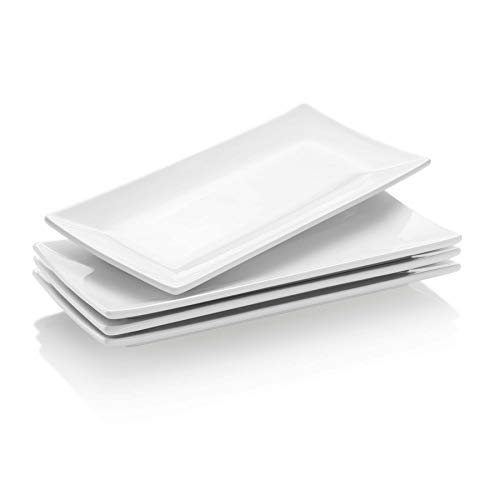 Krockery Rectangular Porcelain Platters, 10 Inch Serving Plates for Dessert, Appetizers and Party, Set of 4