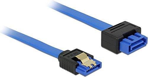 DELOCK verlengkabel SATA 6 Gb/s bus recht > SATA stekker met vergrendelfunctie recht 70cm blauw