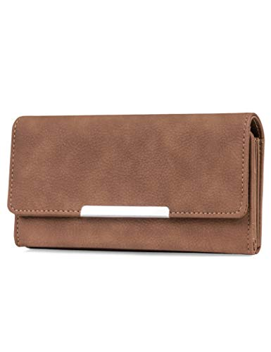 Mundi File Master Womens RFID Blocking Wallet Clutch Organizer With Change Pocket (One Size, (Brown Sugar))