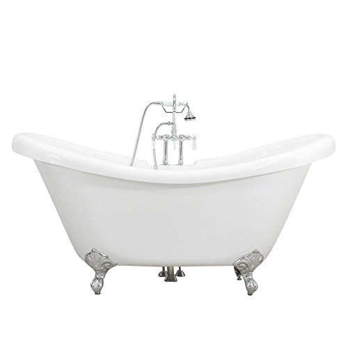 Baths of Distinction All Inclusive Package HLDS59FPK 59' Heavy Duty CoreAcryl Acrylic Double Slipper Clawfoot Bath Tub