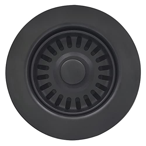 EADOT 3-1/2 Inch Kitchen Sink Drain Assembly with Basket Strainer Stopper, Matte Black