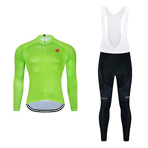 Abbigliamento Ciclismo da Uomo,Maglia da Ciclismo a Maniche Lunghe+Salopette Ciclismo Con Cuscinetto in gel 20D,Moda Set Completo,Ciclismo Jerseys per Uomo,Abbigliamento Sportivo per Bicicletta