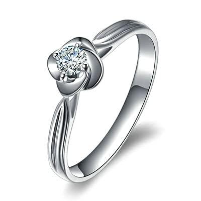 Bishilin Platino, Flor 0.13 Diamante Anillo de Compromiso de Aniversario de Boda Ajuste Cmodo Regalos para Cumpleaos Navidad Regalo de Las Mujeres Platatamao: 6,75