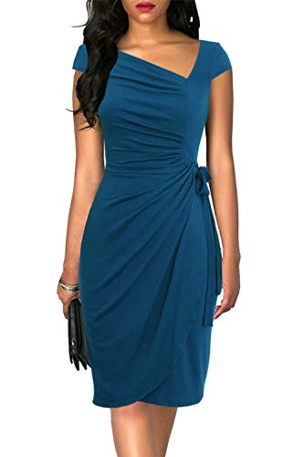 Liyinxi Women's Retro Cap Sleeves Ruched Bodycon Knee Length Summer Sheath Wrap Business Teal Pencil Dress (L, 8022-Teal)