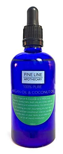 HUILE D'ARGAN & HUILE DE COCO FRACTIONNÉE - Sans parfum - 100 ml - par Fine Line Apothecary - Conditions et Nourritures Barbe, peau et poils. Excellent comme une huile de rasage.