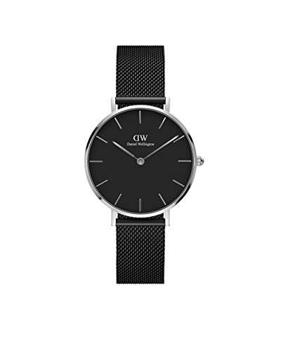 Daniel Wellington Petite Ashfield, Reloj Negro/Plateado, 28mm, Metálico, para Mujer