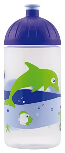 ISYbe Original Marken-Trink-Flasche für Klein-Kinder, 500 ml, BPA-frei, Fische Retro-Motiv für Mädchen & Jungen für Schule-Reisen-Kita-Kiga-Outdoor, Auslaufsicher auch mit Sprudel, Spülmaschine-fest