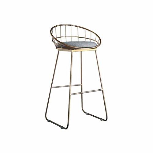 Einfache Barhocker Metall Zähler Hochstühle Moderne Rückenlehne Fußstütze Frühstück Stuhl Rezeption Hocker Esstisch Norden Europa Eisen Last 100Kg (Farbe: Golden) (Sitzhöhe 65cm, 75cm)