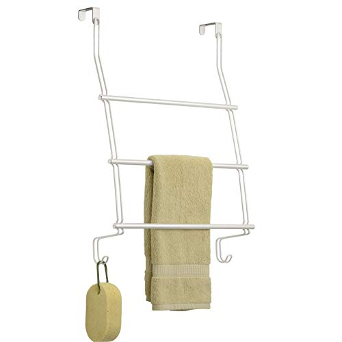 mDesign Modern Decorative Metal Wire Over The Door Towel Rack Holder Organizer with Hooks - for Storage of Bathroom Towels, Washcloths, Hand Towels, Loofahs and Sponges - Pearl White