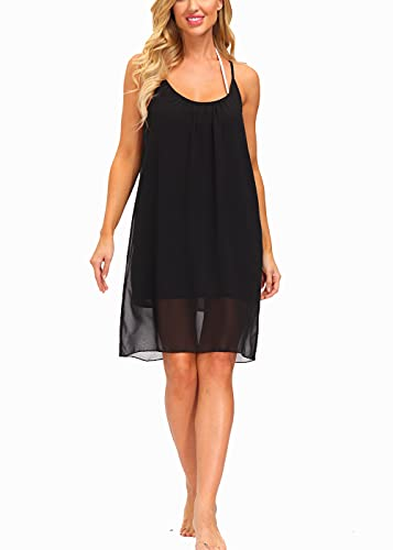 Alleen Damen Sommerkleider Knielang ?rmellos Strandkleid Schulterfrei Chiffon Kleid(Schwarz1, M)