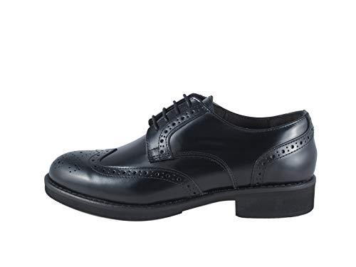 Zapato de mujer Derby Coda de golondrinas, de piel, con cordones, fabricado en Italia Mergellina Negro Size: 36 EU