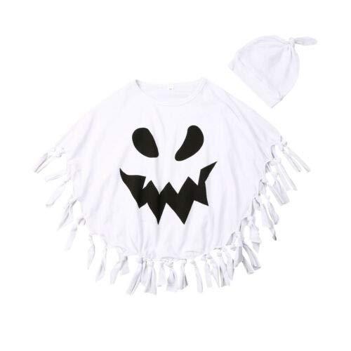 jsadfojas Set di Mantello per Halloween per Bambini e Bambine, con Motivo a Fantasmi Bianchi, Comodo, da 1 a 5 Anni, per Halloween e Cosplay Bianco 1-2 Anni