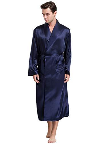 Herren Seide Bademantel Schlafanzug Blau Large