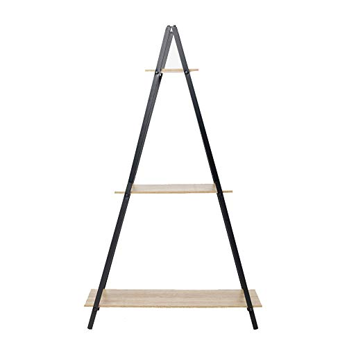 C-Hopetree Ladder Shelf Bookcase - Bookshelf - 3 Tier Plant Stand - Black Metal Frame