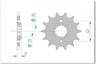 AFAM Ritzel Teilung 520 Zähne 13 für Kawasaki EX 250 R Ninja, EX250K, Bj. 2011 | Maße Welle: 22/25mm | Lochkreis Sicherungsblech: 42mm | Höhe/Versatz: 9mm