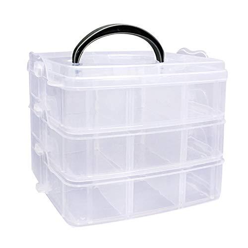 Einstellbare Aufbewahrungsbox Sortierbox Mit Tragegriff Verstellbare Schmuck Organizer 3-StöCkige Transparente Aufbewahrungsbox Schmuck BehäLter Zur Home Schmuck Kleinteile 16,5 X 15,5 X 13,5 Cm