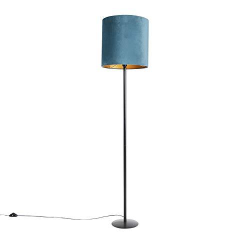 QAZQA - Landhaus | Vintage | Rustikal Schwarze Stehlampe Veloursschirm blau|Gold | Messing 40 cm - Simplo | Wohnzimmer | Schlafzimmer - Stahl Zylinder | Länglich | Rund - LED geeignet E27