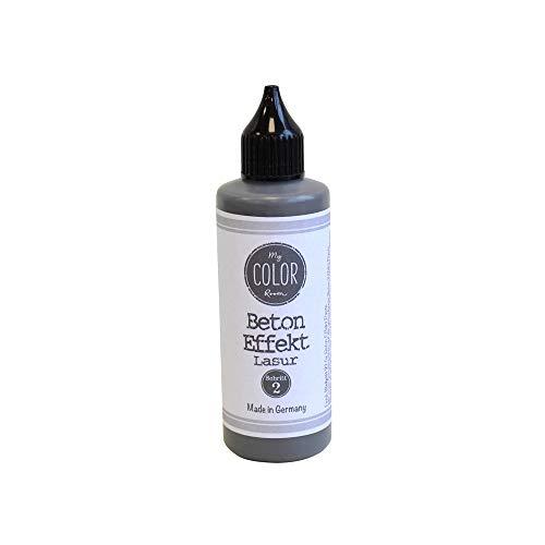 My COLOR Room® Beton Effekt (Lasur dunkel, 90ml) Effekt Lasur zum Basteln für drinnen und draußen - Betonoptik - Beton für Kreative - Beton Deko Aussen