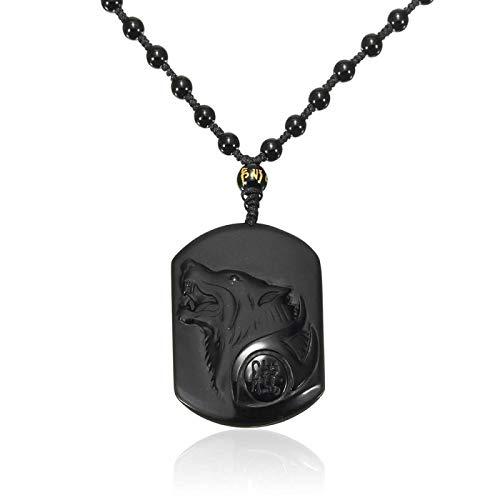 N/G Collar de obsidiana para Hombre, Colgante de Amuleto de Cabeza de Lobo Tallado, Colgante de bendición, joyería de Moda con Caja de joyería