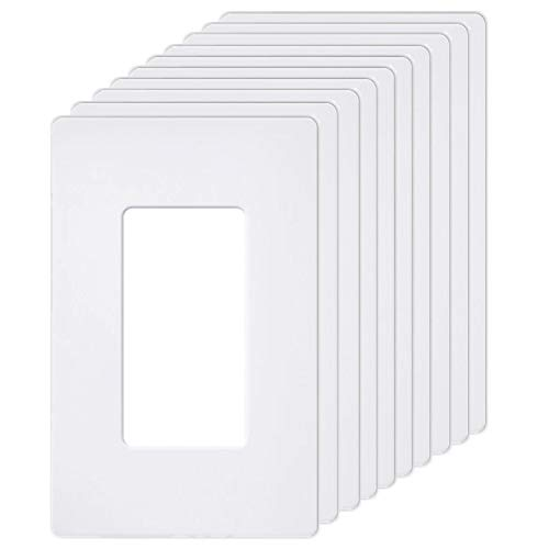 [10 Pack] BESTTEN 1-Gang Screwless Wall Plate, USWP6 Pure White Series, Decorator Outlet Cover, H4.69