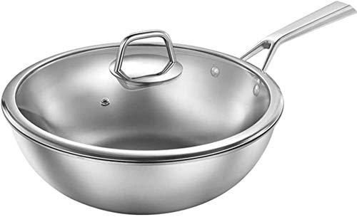 Wok e padelle, wok in puro titanio - Fondo piatto per wok sano non rivestito/materiale composito, conduzione del calore efficiente, con coperchio (argento)-34cm